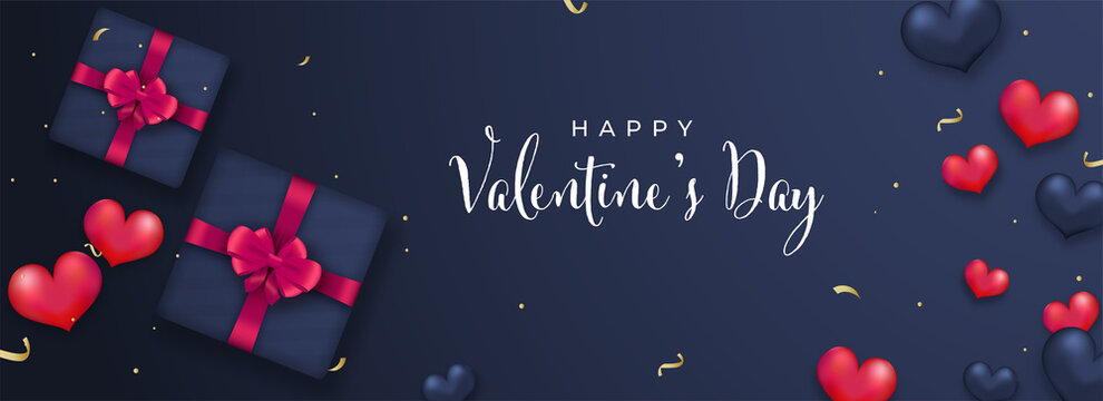 Happy Valentine's Day Font With Top View Of 3D Gift Boxes And Glossy Heart Balloons On Blue Background.