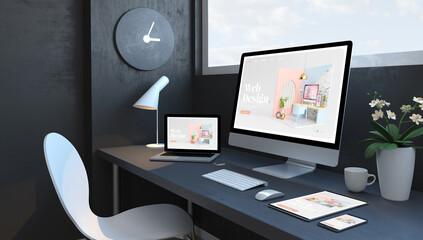 Wall Mural - Navy blue workspace with responsive devices modern web design