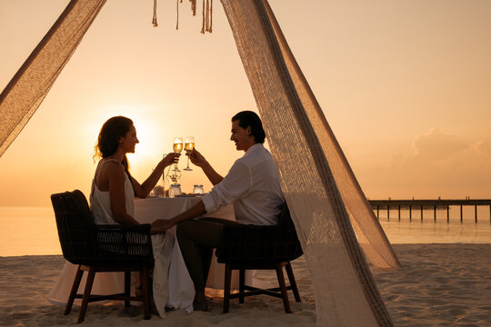 Romantic date at a beach resort