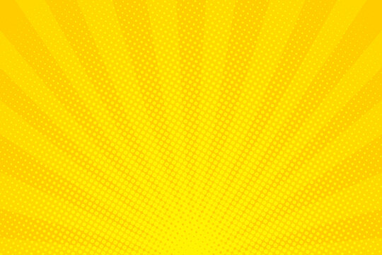 Pop Art. Background with dots. Yellow comic background. Cartoon funny retro pattern. Vector illustration