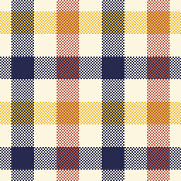Multi gingham pattern in navy blue, brown, yellow, off white. Seamless vichy pixel check plaid for cotton shirt, skirt, dress, or other modern spring, summer, autumn textile print.