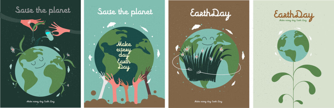 Earth Day. International Mother Earth Day. Environmental problems and environmental protection. Vector illustration. Caring for Nature. Set of vector illustrations