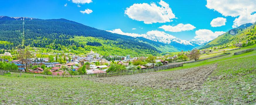 Panorama of Mestia, Georgia