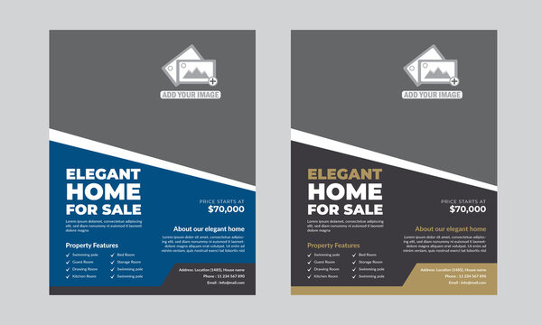 """Real Estate Flyer Template (Editable)   Specifications:   -Size 8.5""""x11"""" inch + 0.25 inch bleeds (Print Size)  - Fully editable Illustrator AI & EPS file  - Resolution: 300 DPI  - Color mode: CMYK  -"""