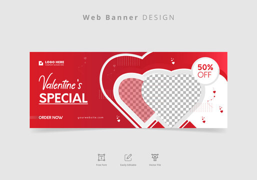 Valentine's Day discount, sale, offer red web banner