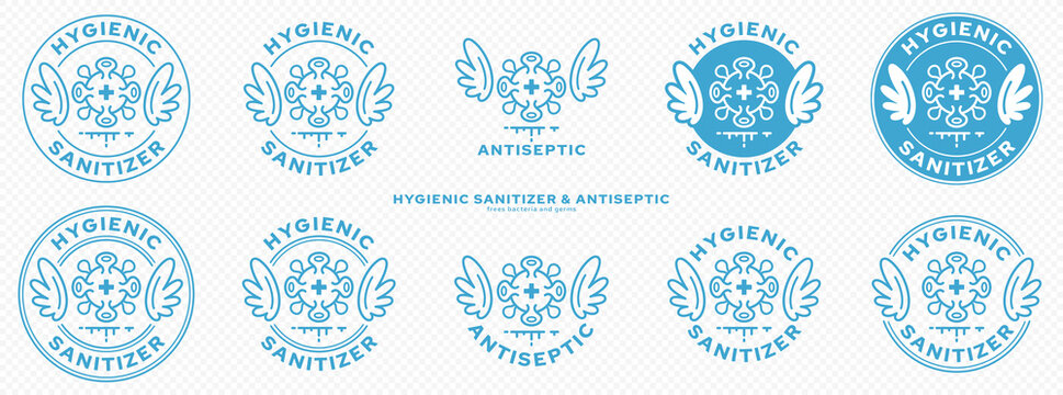 Conceptual marks for product packaging. Marking - hygienic sanitizer or antiseptic. A brand with wings and a bacteria or microbe icon - a symbol of the medical destruction of bacteria. Vector