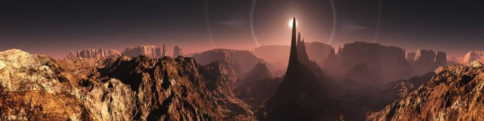 Mars, martian landscape, panorama of Mars, alien landscape, mars at sunrise, 3d rendering