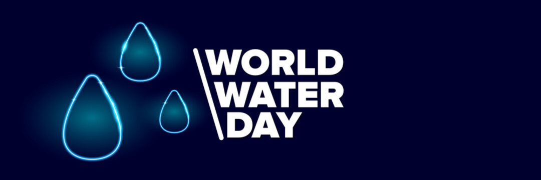 World water day neon style horizontal banner design template. 22 march International water day neon concept horizontal vector illustration with text and water on blue water background.