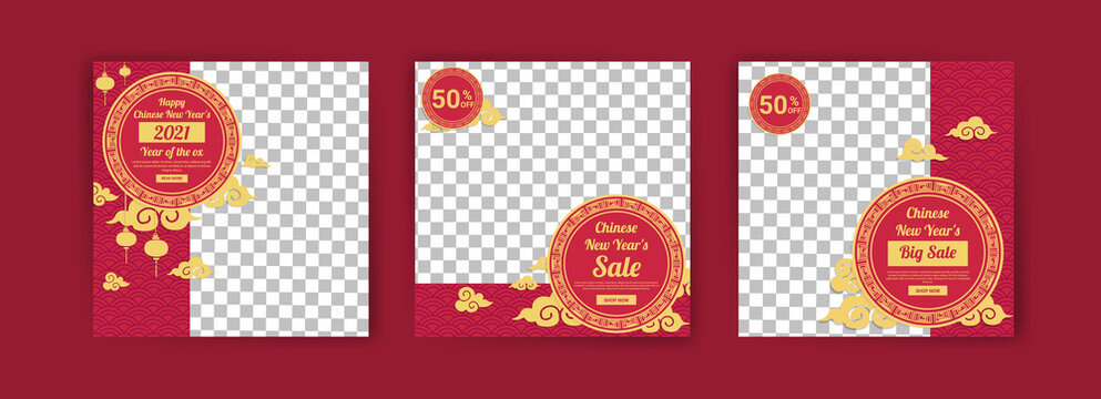 Chinese New Year 2021. Year of the Ox. Social media post template for digital marketing and sales promotion in Chinese New Year 2021. Sales ad for chinese new year .