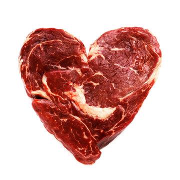 Fresh raw beef meat in shape of heart