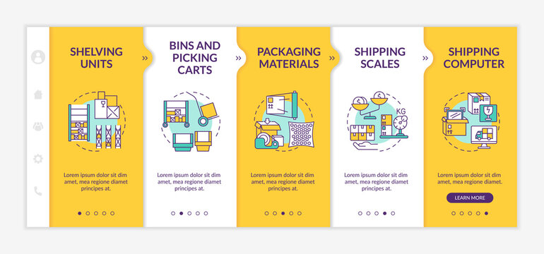 Storehouse onboarding vector template. Shipping computer. Bins and picking carts. Shipping scales. Responsive mobile website with icons. Webpage walkthrough step screens. RGB color concept