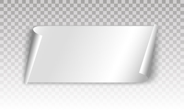 White scroll banner on a transparent background