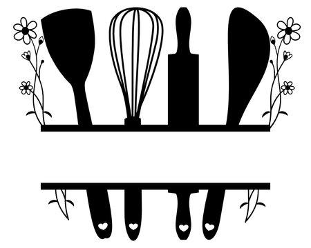 Kitchen baking split monogram frame, rustic kitchen bake monogram decal SVG