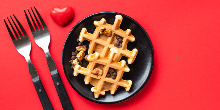 Belgian waffles decoration heart breakfast for two person shape love valentines day background mothers day care pleasant top view copy space for text food background rustic