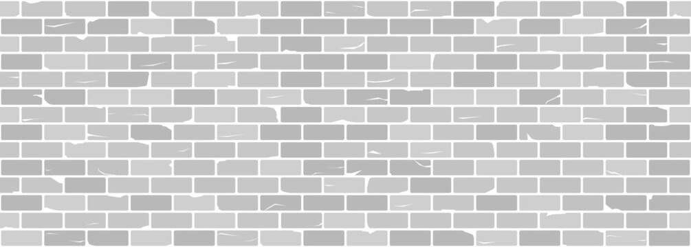 White or grey old brick wall seamless texture. Chipped and cracked bricks. Vector pattern