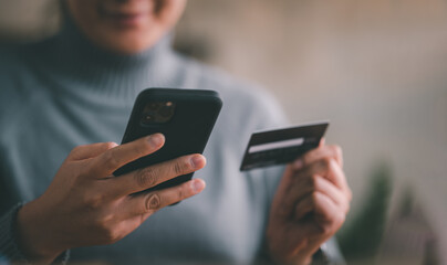 Mobile payment with wallet app technology. woman paying and shopping with smartphone application. Digital money transfer, banking and e commerce concept. - fototapety na wymiar