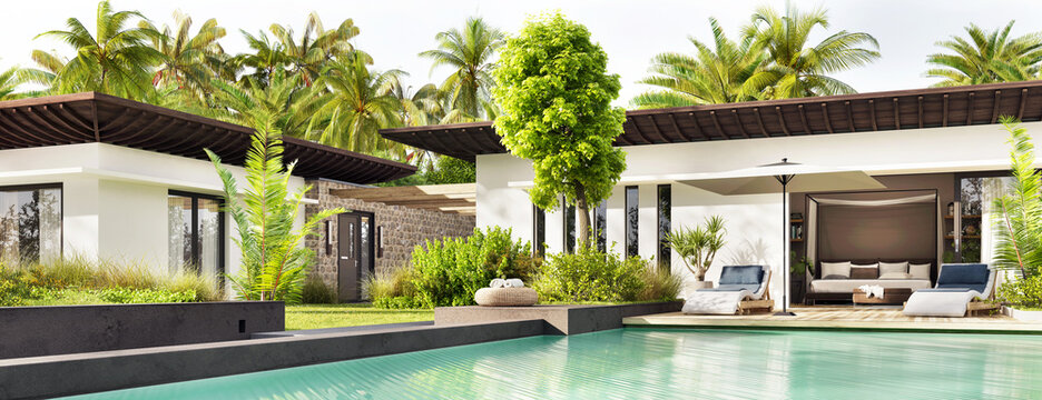 White modern house exterior with swimming pool and palm trees