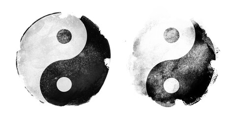 Watercolor sigh of In and yang on white. Set