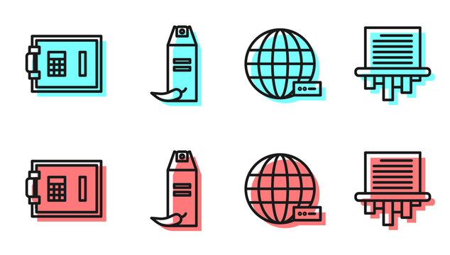 Set line Social network, Safe, Pepper spray and Paper shredder icon. Vector.