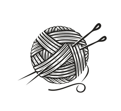 Skein of wool yarn with needles. Knitting, needlework symbol vector illustration