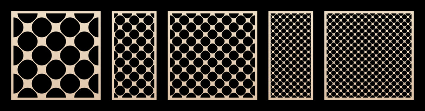 Laser cut pattern big set. Vector design with modern geometric ornament, abstract circular grid, mesh, circles. Template for cnc cutting, decorative panels of wood, metal, paper. Aspect ratio 1:1, 1:2