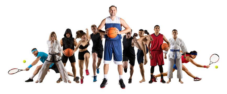 Sport collage. Fitness, Tennis, taekwon-do, karate, MMA, basketbal