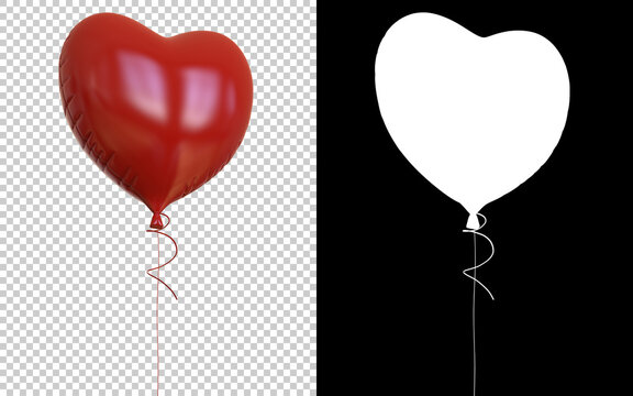 Heart balloons isolated on background with mask. 3d rendering- illustration