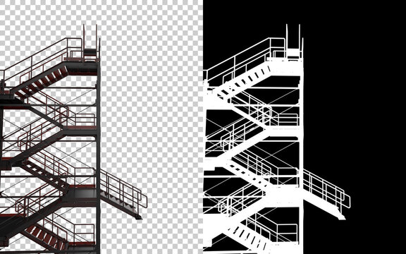 Industrial exterior staircase close-up scene isolated on background with mask. Ideal for large publications or printing. 3d rendering - illustration