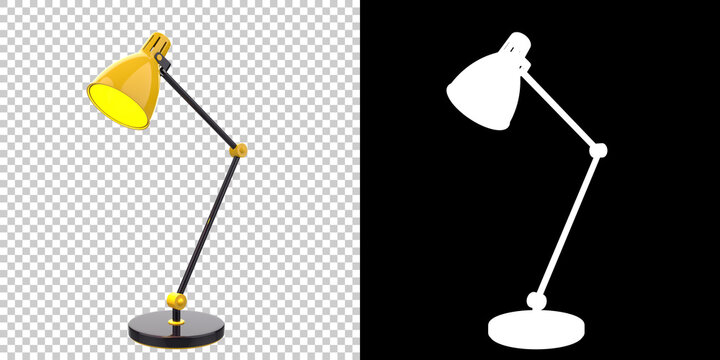 Modern desk lamp isolated on background with mask. 3d rendering - illustration