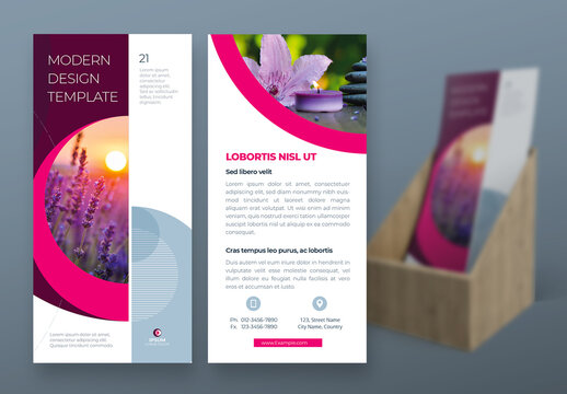 Business Flyer Layout with Pink Circle Elements