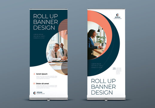 Retractable Banner Layout with Coral and Blue Circle Elements