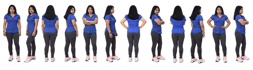 Fototapeta view of large group of same woman of back, front and side with casual clothes on white background obraz