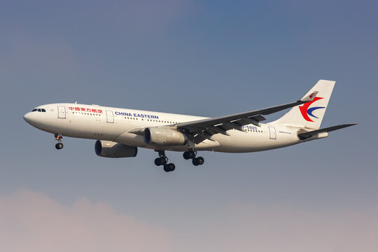 China Eastern Airlines Airbus A330-200 airplane Shanghai Hongqiao Airport in China