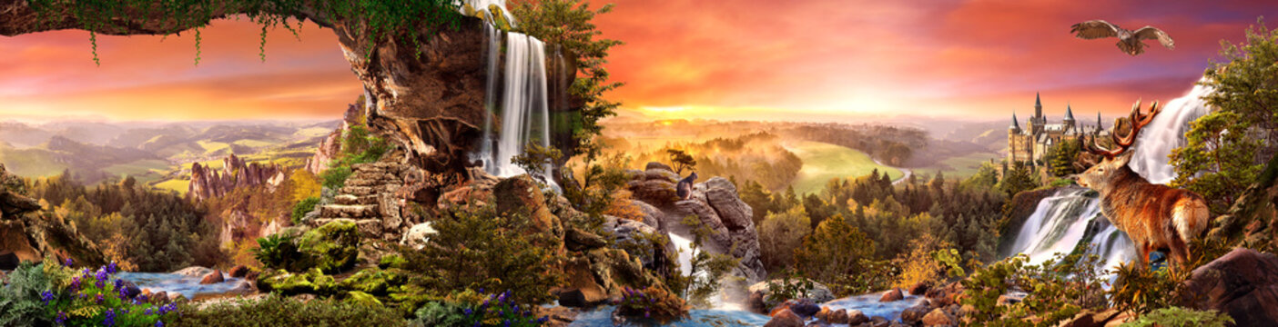 Sunset view from the mountain with waterfalls