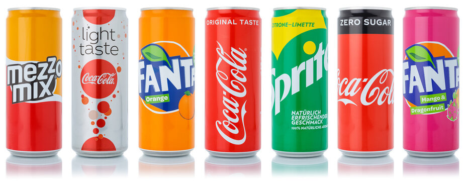 Coca Cola Coca-Cola Fanta Sprite products lemonade soft drinks in cans isolated on a white background