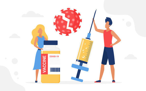 Vaccination campaign vector illustration. Cartoon people standing with vaccine medical bottle, big syringe injection to protect health from coronavirus, medicine healthcare concept isolated on white