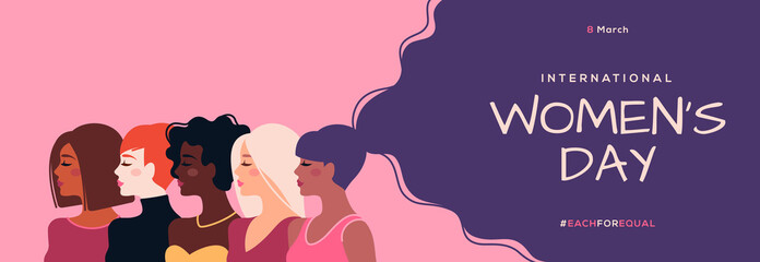 International Women's Day horizontal banner. Vector illustration. Woman of different nationalities. Struggle for freedom, equality and independence concept, 8 March. Female diverse faces - fototapety na wymiar