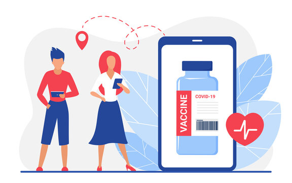 Online pharmacy drugstore for ordering coronavirus vaccine vector illustration. Cartoon people holding mobile devices to order antiviral vaccine via internet app store, vaccination isolated on white