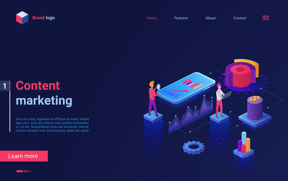 Content marketing concept isometric vector illustration. Cartoon 3d online service for digital content analysis and optimization, marketer people team in research data analyzing process landing page
