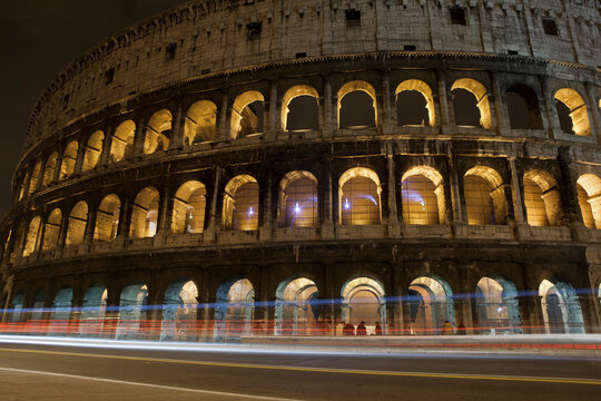A time lapse exposure of the Colosseum at night in Rome, Italy.