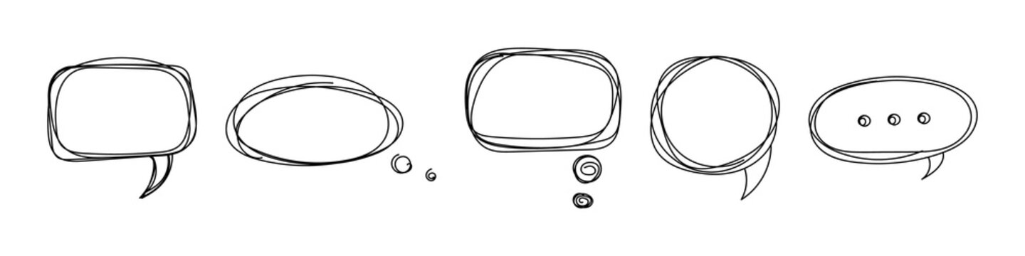 Pencil drawn speech bubbles frame icons. Cloud dialogues with black communication contour doodle comments and swirl vector arguments.