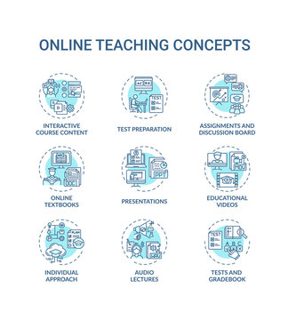 Online teaching concept icons set. Interactive course content. Online learning textbooks and materials idea thin line RGB color illustrations. Vector isolated outline drawings. Editable stroke