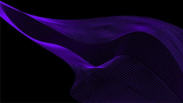 Black purple wave background vector