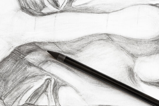 graphite pencil on hand-drawn academic drawing of male nose