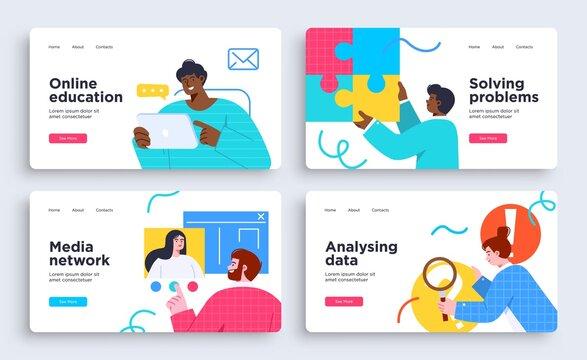 Set of Presentation slide templates or landing page websites design. Business concept illustrations. Modern flat style.
