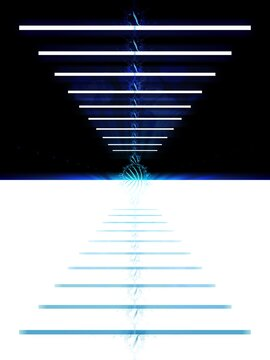split geometric diminishing perspective to central vanishing point in black and blue