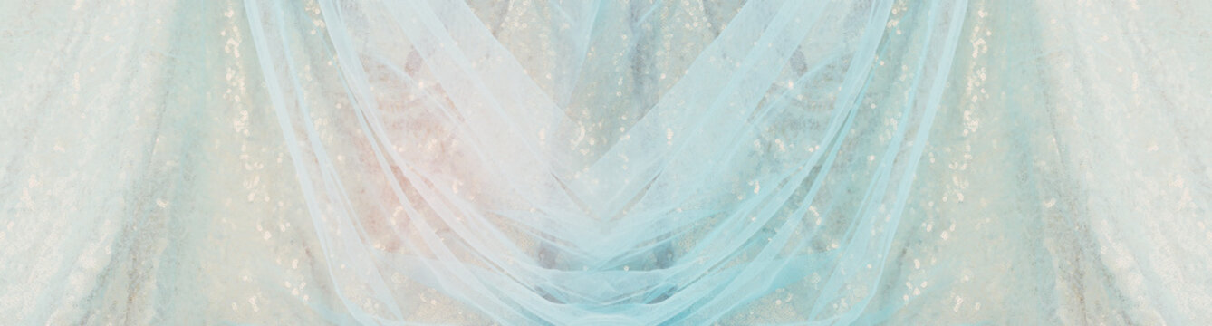 Blue and gold vintage tulle chiffon texture background