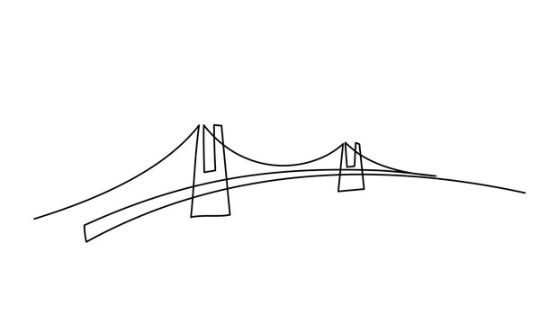 Giant bridge over river. Continuous one line drawing design