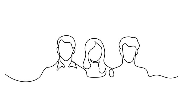 Three Human heads silhouette. Two young man and woman.