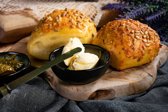 Tasty buns with cheese and sunflower seeds.